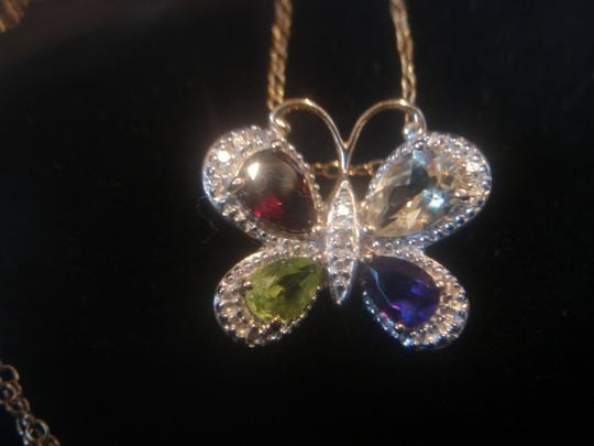 """Other BUTTERFLY PENDANT ASSTD. GEMSTONES 18K GOLD OVER STERLING SILVER LOT 18"""" CHAIN"""