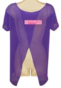 Charming Charlie Violet Short Sleeve Tunic Maternity Chiffon Top Purple