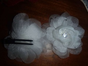 David's Bridal Ivory Flower Clips with Crystals Hair Accessory