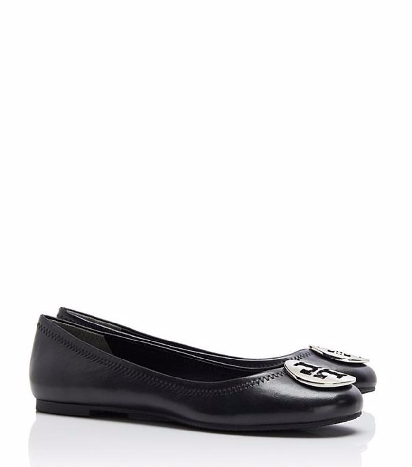 0ca9347c87c Tory Burch Reva Ballet Extended Width Black Silver Flats Size US 9 Wide (C
