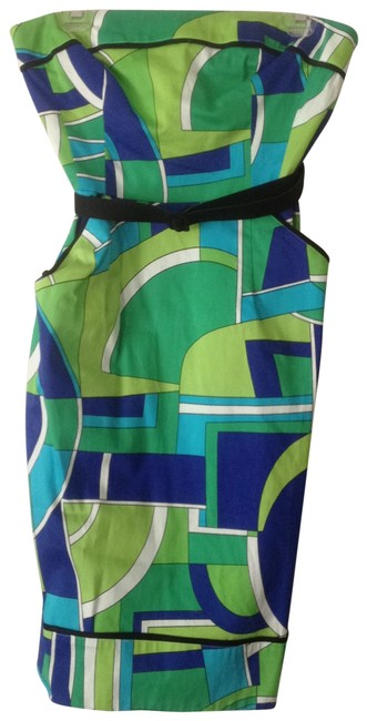 Maggy London short dress green/blue multi on Tradesy