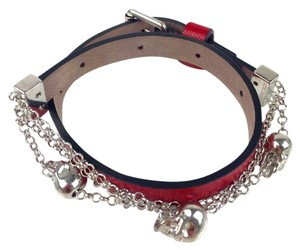 Alexander McQueen Chain Skull Leather Double Wrap Bracelet