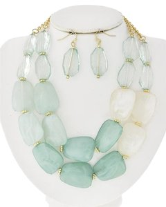 Vera Neumann Mint Acrylic Multi Row Necklace & Fish Hook Earring