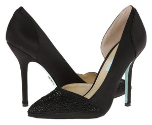 Betsey Johnson Blue By Betsey Song Satin Sparkle Wedding Bridal black Pumps