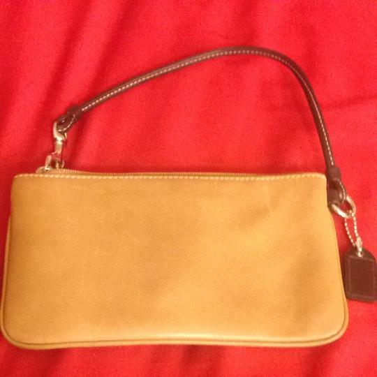 Coach Wristlet in Camel and Chocolate brown