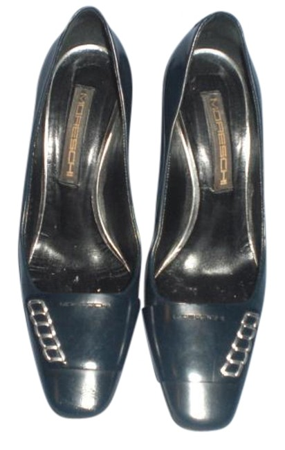 Dark Blue Leather with Silver Tone Pumps Size US 7 Regular (M, B) Dark Blue Leather with Silver Tone Pumps Size US 7 Regular (M, B) Image 1