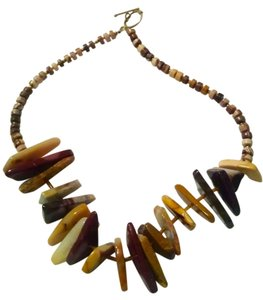 New Mookaite Gemstone Necklace Brown Yellow Red 17 Inch J630