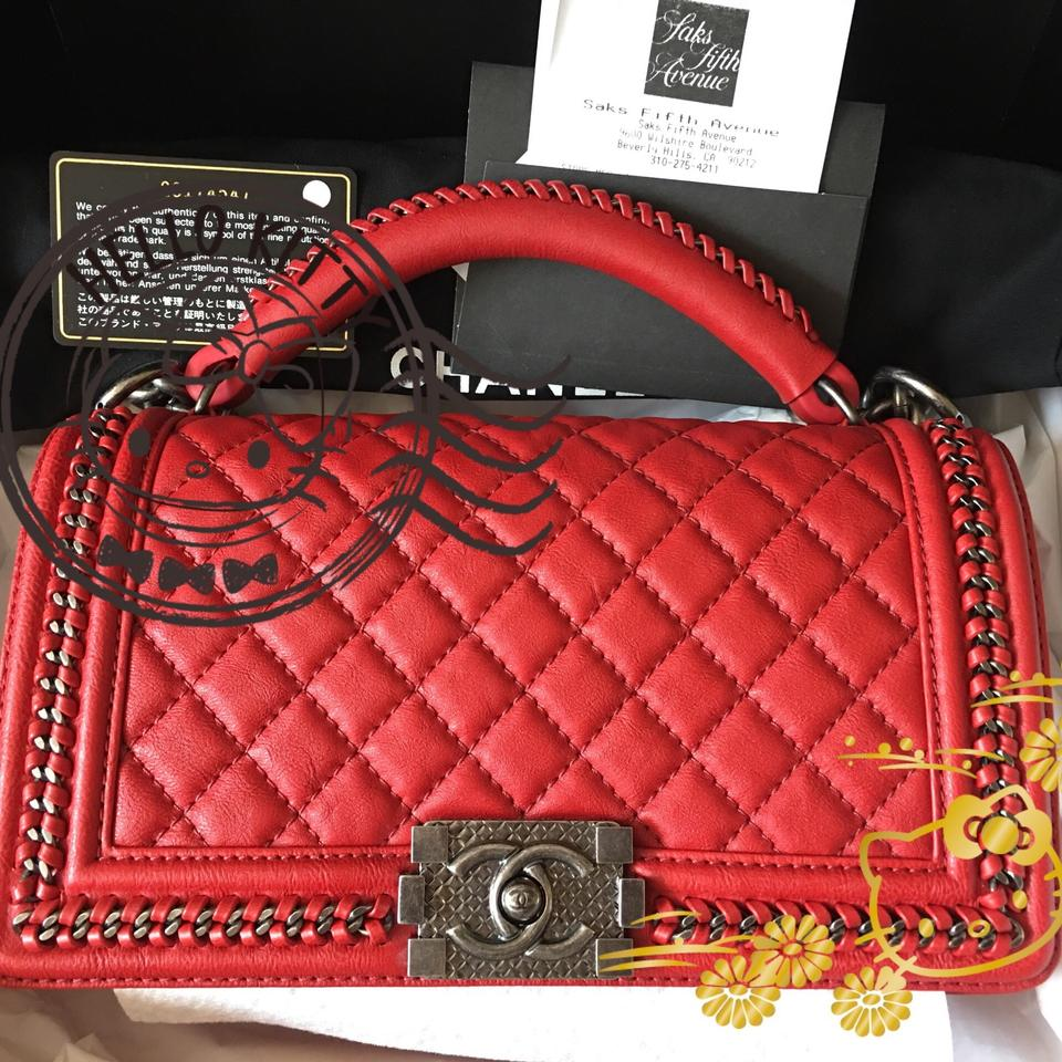 c961f25bc5f4d6 Chanel Boy With Handle Hardware 2016 Bnwt Red Ruthenium Metal Cross ...