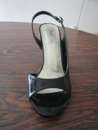 Nine West Patent Leather Open Toe Slingback Black Pumps