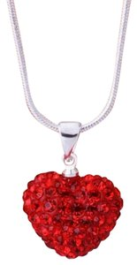 Other necklace heart sterling silver snake chain 925 heart shamballa red cz crystal charm bead 18