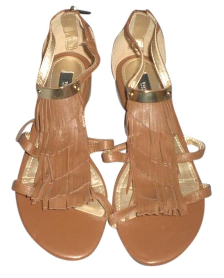 White House | Black Market Brown M Fringe with Gold Tone M Brown Sandals fa2159