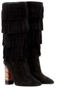 Burberry Suede Fringe Sale Clearance black Boots