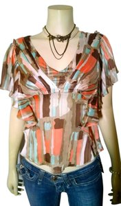 BCBGMAXAZRIA Bcbgeneration Size Small P1139 Top peach, gray, blue