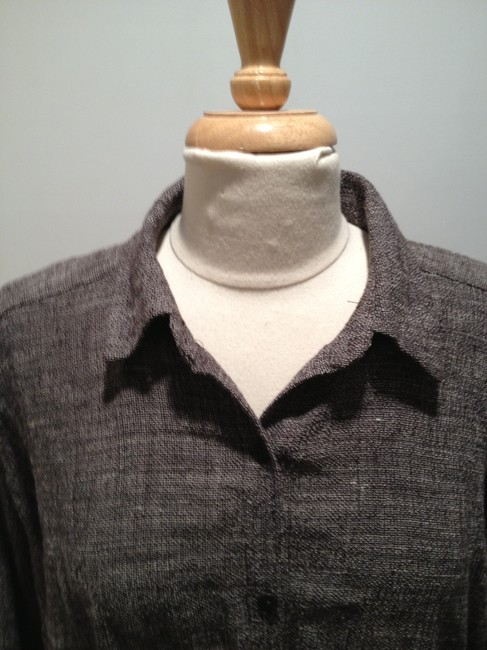 Eileen Fisher Linen Woven Tunic Button Down Shirt Brown and White