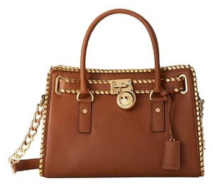 Michael Kors East West Pebbled Leather Whipped Hamilton Satchel in Luggage