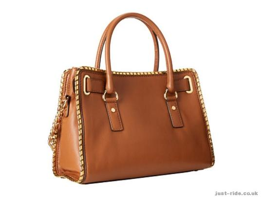 Michael Kors East West Pebbled Leather Whipped Hamilton Satchel in Luggage Image 1