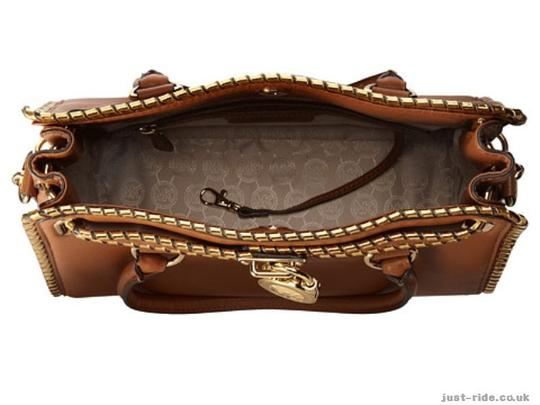 Michael Kors East West Pebbled Leather Whipped Hamilton Satchel in Luggage Image 3