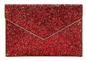 Rebecca Minkoff Leather Gold New With Tags Red Glitter Clutch