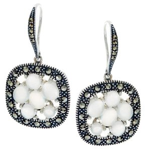 Other Moonstone and Marcasite Cluster Sterling Silver Drop Earrings