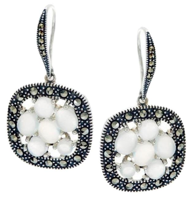 Moonstone And Marcasite Cluster Sterling Silver Drop Earrings Moonstone And Marcasite Cluster Sterling Silver Drop Earrings Image 1