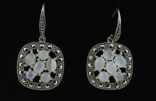 Other Moonstone and Marcasite Cluster Sterling Silver Drop Earrings Image 1