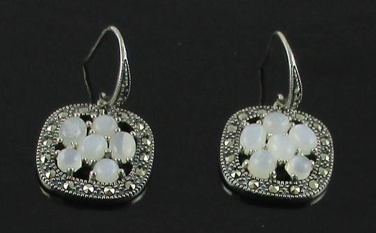 Other Moonstone and Marcasite Cluster Sterling Silver Drop Earrings Image 3