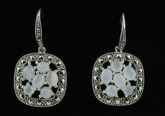 Other Moonstone and Marcasite Cluster Sterling Silver Drop Earrings Image 4