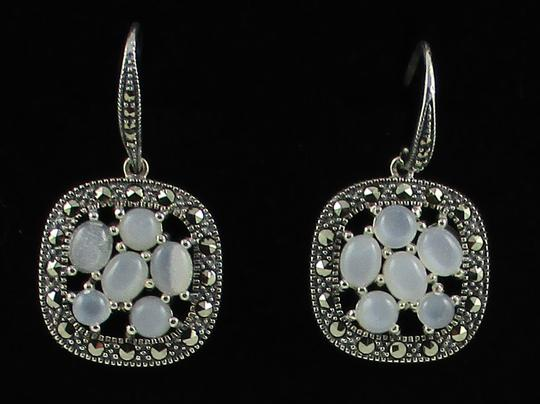 Other Moonstone and Marcasite Cluster Sterling Silver Drop Earrings Image 5