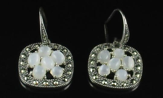 Other Moonstone and Marcasite Cluster Sterling Silver Drop Earrings Image 6