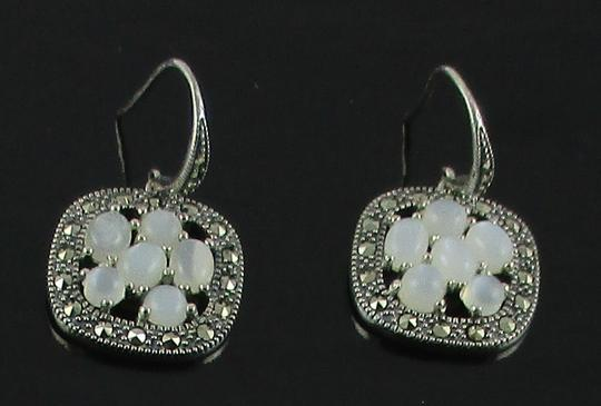 Other Moonstone and Marcasite Cluster Sterling Silver Drop Earrings Image 7