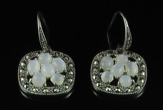 Other Moonstone and Marcasite Cluster Sterling Silver Drop Earrings Image 8