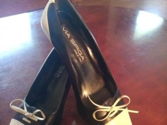 Via Spiga Black & white leather Pumps