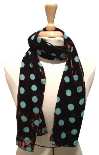Shihreen Brown Velvet Scarf with Turquoise Polka Dots