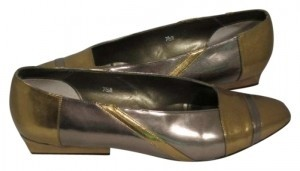 Jasmin Vintage Classic Night Out Gold & Silver Flats