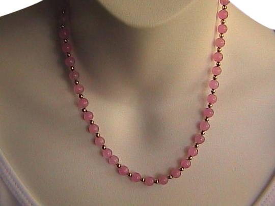 Unknown 14k Yellow Gold Light Pink Quartz Necklace (#2)