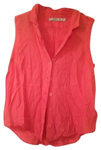 Chloe K Sleeveless High-low Button Down Shirt Coral