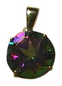 4.0 Cts 10k Solid Yellow Gold Genuine Mystic Topaz Pendant (#2)