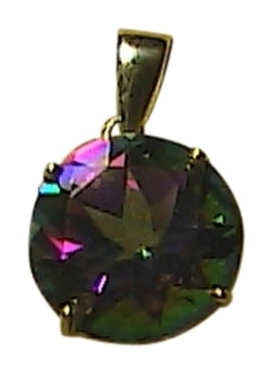 Other 4.0 Cts 10k Solid Yellow Gold Genuine Mystic Topaz Pendant (#2)