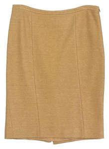 Moschino Yellow Gold Knitted Pencil Skirt