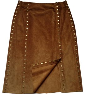Céline Pencil Studded Suede Skirt Brown - Camel