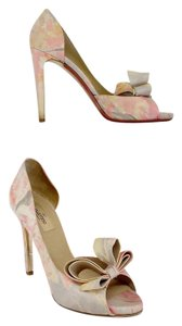 Valentino Pink Floral Watercolor Peep Toe Bow Heels Pumps
