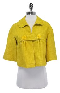 Tibi Yellow Cotton Linen Cropped Jacket