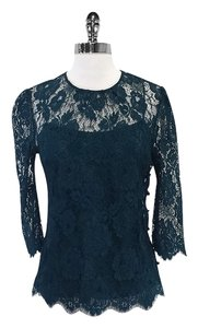 MILLY Teal Floral Lace 3/4 Sleeve Top