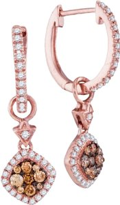 Other Luxury Designer 14k Rose Gold 0.53 Cttw Cognac Diamond Fashion Earrings By BrianGdesigns