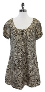 Laundry by Shelli Segal short dress Brown & Tan Silk Short Sleeve on Tradesy