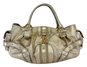 Juicy Couture Gold Oversized Leather Shoulder Bag