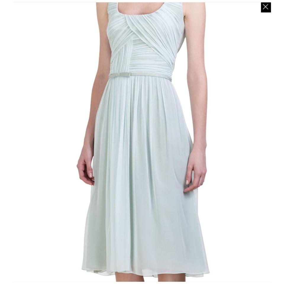 Carolina Herrera Seafoam Green Silk Chiffon Knee Length Cocktail ...