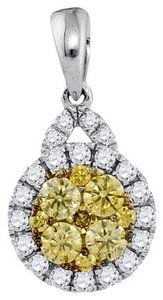 Luxury Designer 14k White Gold 0.65 Cttw Yellow Diamond Fashion Pendant By BrianGdesigns