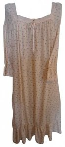 cream/pink print Maxi Dress by Victoria's Secret Nightgown L Full Length Cotton W/Pink
