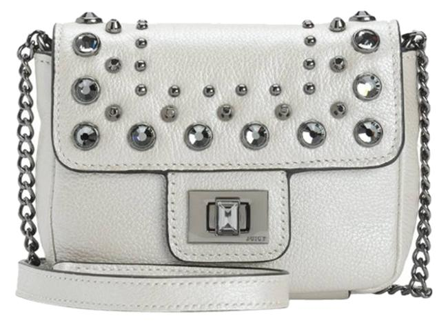 Item - Rhinestone Embellished White Silver Hardware Luxe Oyster Leather Cross Body Bag
